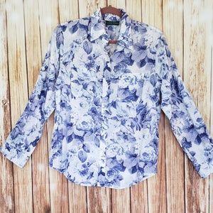 Lauren Ralph Lauren white and blue shirt